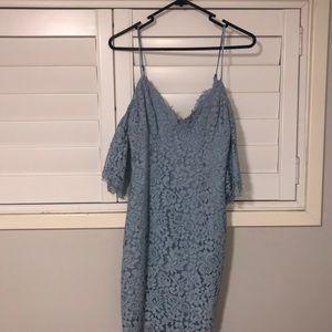 Bardot baby blue lace dress